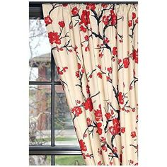 branch curtain, curtains, living rooms, cherri blossom, flower prints, laundry rooms, live room, branches, cherry blossoms