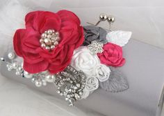 Clutches and Purses  Bridal Clutch - Party Clutch in Silver, Fuchsia and White with Feathers, Handmade Flowers and Brooches