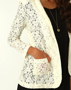 Lace blazer. Perfect. So cute