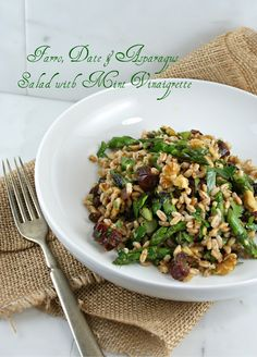Farro, Date and Asparagus Salad with Mint Vinaigrette @Lisa Phillips-Barton |Authentic Suburban Gourmet