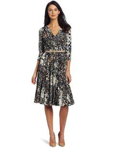 Suzi Chin Women's V-Neck Pleated Dress