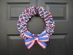 mardi gras bead wreath - super cute
