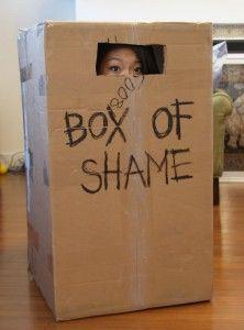A caixa da vergonha - ainda não sei como usar isso na festa sem parar no Conselho Tutelar
