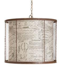 "#lampshade #""chicken wire"" Vicky kitchen idea!"