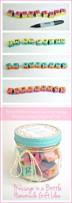 Message in a Jar Graduation Gift Idea - paint wood blocks, draw secret message on each side, and dress up mason jar.