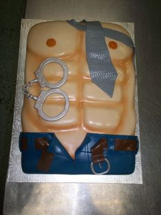 """Sexy Man"" cake for a bachelorette party. 50 shades of blush!"