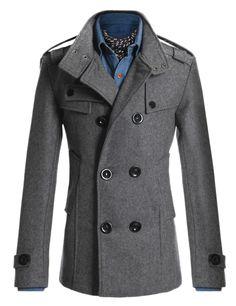 Mens Double PEA Wool Half Trench Coat