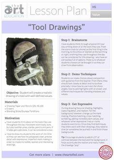 Tool Drawings - High School Art Lesson Idea