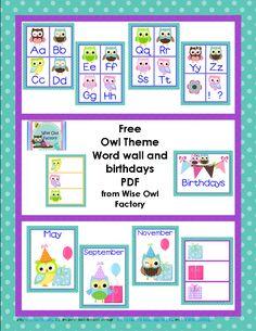 free owl theme word wall and birthday display PDF printables, photo owl theme classroom free, owl classroom birthday, word wall, pdf printabl, free owl classroom printables, classroom owl theme free