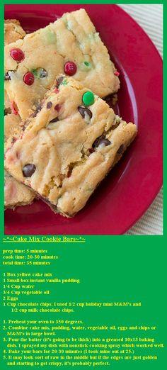 ~*~Cake Mix Cookie Bars~*~