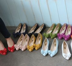 shoes, fashion, style, accessori, colors, bow shoe, bows, flats, thing