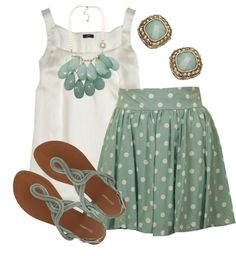 skirt, polka dots, mint green, summer looks, peppermint patties, color, summer outfits, ador, spring outfits