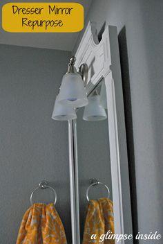 Dresser Mirror Turned Bathroom Mirror #DIY