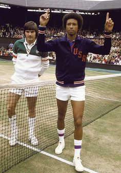 Days shy of his 32nd birthday, Arthur Ashe faced off against the heavily favored Jimmy Connors, the 22-year-old defending champ. Ashe kept Connors off guard all match with a mix of pace and angles, winning in four sets. The victory was Ashe's first Wimbledon title and third Grand Slam overall, but more than that, the victory made him the first black male player to win the championship. 1975