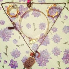 """Did you hear? CutiePieMarzia is obsessed with Foxy! Her favourite pieces: Soca earrings in gold, Luck elephant charmbangle in gold, and Mantra Love / """"You are my sun"""" necklace in mixed metals"""