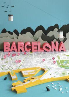 Barcelona! graphic design, barcelona map, collage art, maps, 3d paper crafts, magazines, paper design, papers, paper models