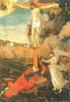 Sandro Botticelli - Crucifixion with the büßigen Maria Magdalena and an angel