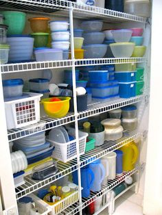 keep tupperware in the pantry instead of a cupboard will make them easier to get at and keep organized. Find a wire rack to keep lids organized.