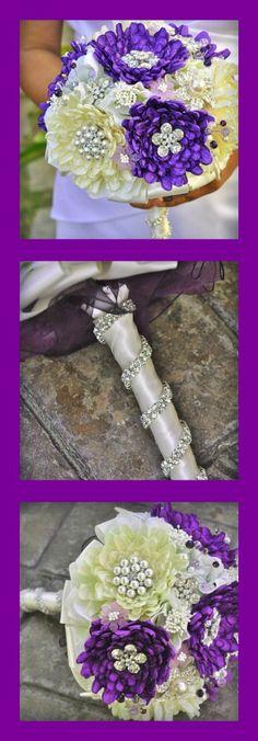 Our Purple Dahlia Bouquet ... by Blue Petyl #wedding #purple #brooch bouquet #blue petyl #dahlia #brooch #bouquet