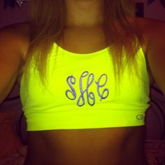 monogrammed sports bra! WANT god, friends, fitness workouts, colors, monogram sport, sport bras, fitness outfits, gifts, dance