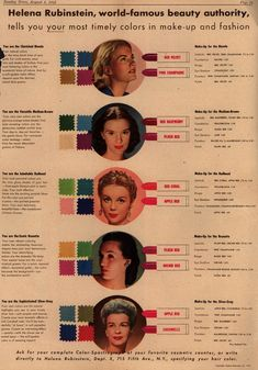 vintage beauty, 40s style, face charts, helena rubinstein, makeup tips, 1940s makeup, beauti, color charts, lipstick colors