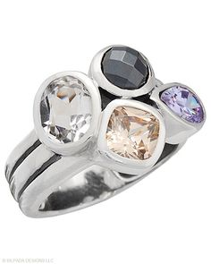 Glimmering #Hematite, #CubicZirconia and #Quartz stones gather atop this #SterlingSilver #Ring. #Silpada #Sparkle