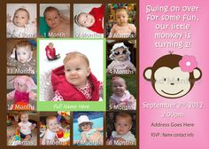 Mod Monkey Invite Mod Monkey Invitation Photos -  1st Birthday Party Girl invite - 1 year old (multiple options available), via Etsy.