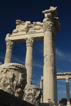 The Roman Trajan Temple at the Akropolis of Pergamon was built from white marble in the 2nd century BC., finished during the reign of Hadrian II. (117-138 BC.) Bergama Turkey