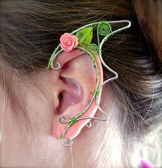Dragon Inspired Pair of Floral Silver Elf Ear Cuffs, Ear Wraps, Renaissance, Elven, Hobbit, Elf, Fantasy Ear Wraps,