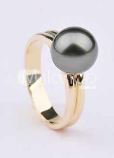 Gorgeous 14K Yellow Gold 9-9.5mm Black Round Tahitian Pearl Ring For Women. See More Pearl Rings at http://www.ourgreatshop.com/Pearl-Rings-C897.aspx