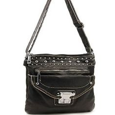 Black Stone Washed Messenger Purse In Stock $36