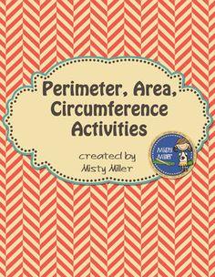 Perimeter, Area, Circumference Activity Bundle $ Grade 4-8 #math #area #tpt