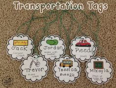 Back to School Transportation Tags: FREEBIE. Car rider? Day care? Bus? Walker? Have kiddos wear these tags so everybody will know where to go!