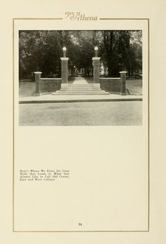 "Athena Yearbook, 1915. ""Here's Where We Enter the Long / Walk that Leads to What Our / Alumni Like to Call Old Center, / East and West Colleges"" :: Ohio University Archives"