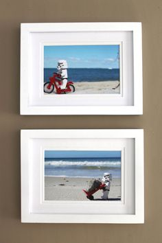 Two Fun, Kitsch and Geeky Lego Stormtrooper Prints 4 x 6 Beach Fun Lego Lovers Photo