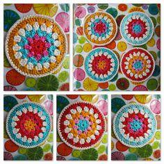 Coasters - crochet over cd's
