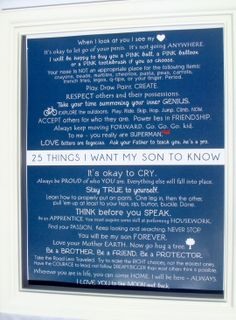 Mommy OM art prints. Kids Wall Art. 25 things i want my son to know 11x14 PRINT. $20.00, via Etsy.