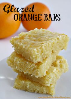 Glazed Orange Bars- YUM. Butter with a Side of Bread #recipe #bars