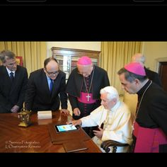 The Pope and his iPad.