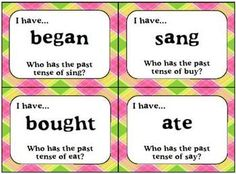 I have/Who Has game cards for irregular past tense verbs