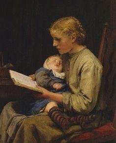 Rose and Bertha Gugger by Albert Anker, Swiss, 1831-1910,