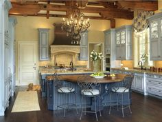 pics of french country kitchens - Google Search kitchen cabinet, color, blue kitchens, islands, french countri, french country kitchens, blues, dream kitchens, kitchen designs