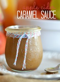 A super easy to make apple cider caramel sauce with vanilla bean flecks - heaven in a jar!  Get the recipe at www.kitchenmeetsgirl.com #recipes #apple #caramel fun food, cider caramel, jar, appl cider, caramels, apple cider, apples, caramel sauc, heavens