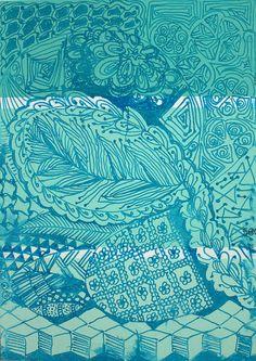 PaintChip3-Feather by Ruby OpalTones #doodles #feather #paint chip