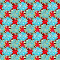 Little Bouquet in blue and red fabric by art_is_us on Spoonflower - custom fabric