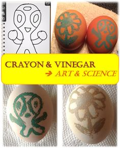 Easy Egg Craft for Kids with Crayon and Vinegar - combining art and science #Easter