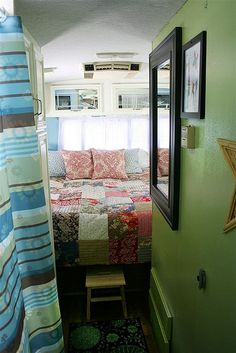 Love the green wall in the camper