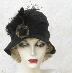 Vintage Style Cloche Hat in Black Silk  by Vintage Style Hats by Gail, via Flickr