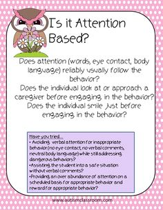 Why is the behavior occurring? Is it for attention or something else? These posters offer a few questions to ask yourself when faced with a challenging behavior. They are preliminary, beginning steps to addressing behaviors.