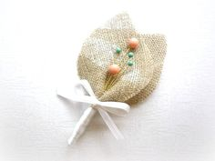 JACOB Coral and Jade Beaded Baby's Breath Beige by GroomsCorner, $9.00